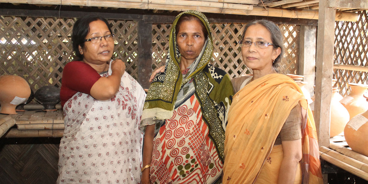 Farida Akhter with farmer Hasina