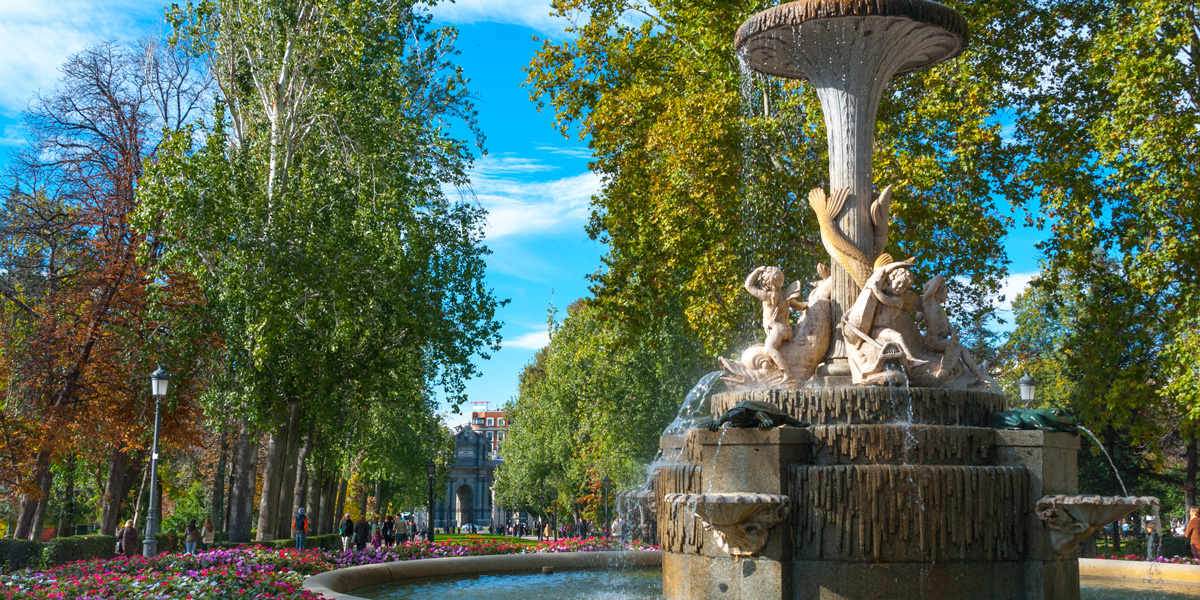 Fountain in Madrid Park where glysophate will be banned