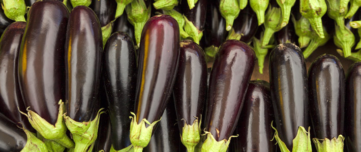 eggplants in an open box
