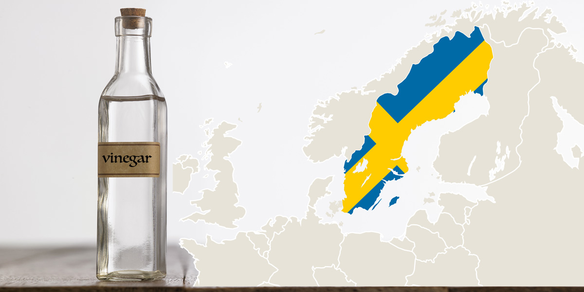 vinegar and map of Sweden