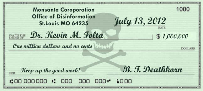 Cheque to Kevin Folta from Monsanto