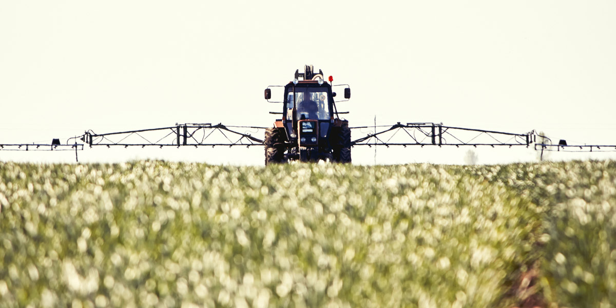 Crop spraying with pesticides