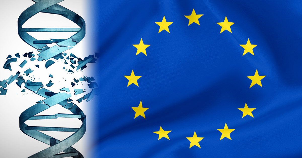 EU Flag and damaged DNA