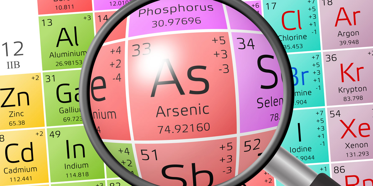 Element of Arsenic with magnifiying glass