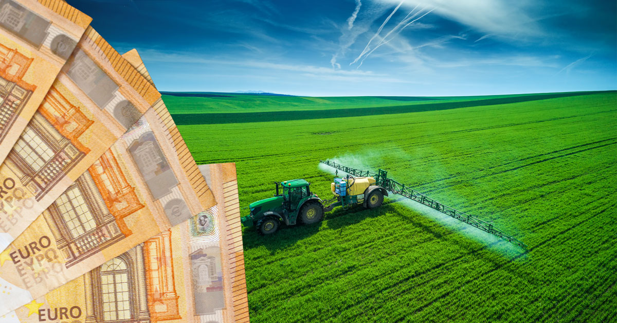 Euros and Tractor spraying pesticides
