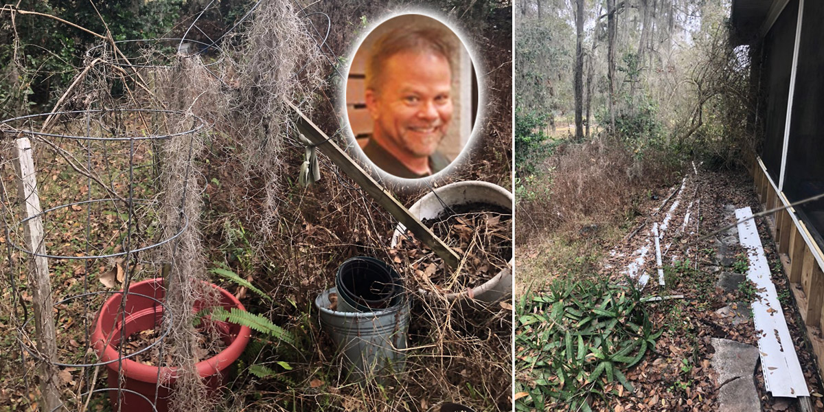 Kevin Folta's toppled tomato cage and abandoned garden