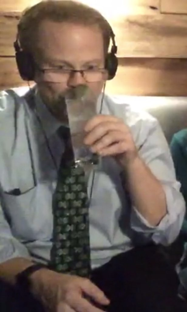 Folta Livestream drinking cocktail