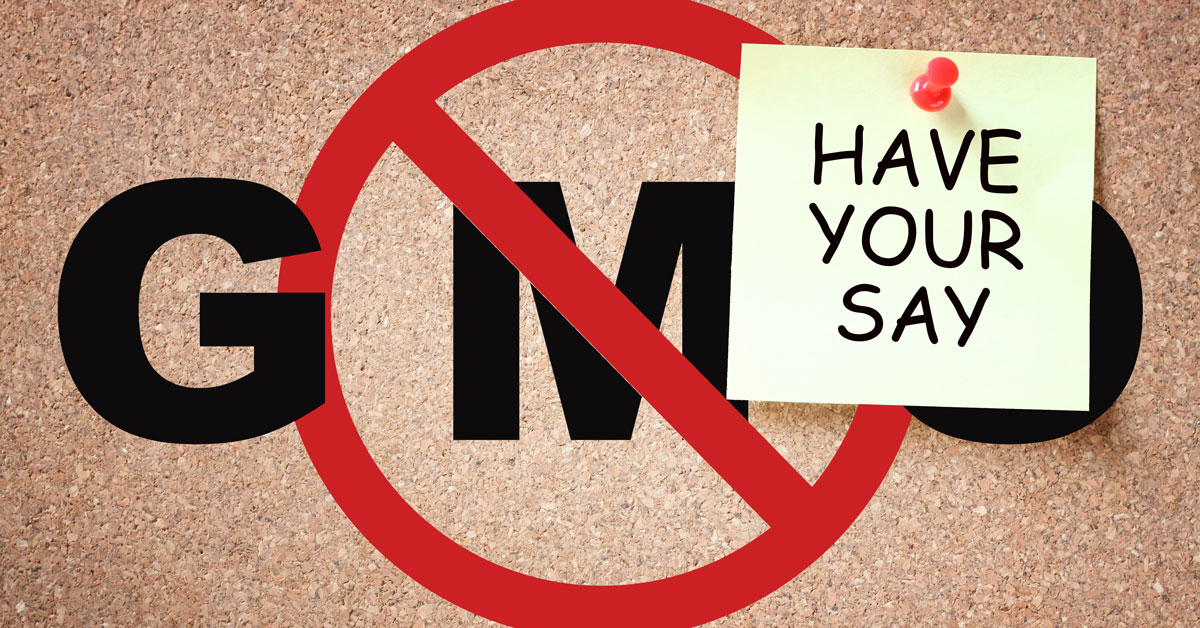 GMO No-Entry sign and have your say post-it