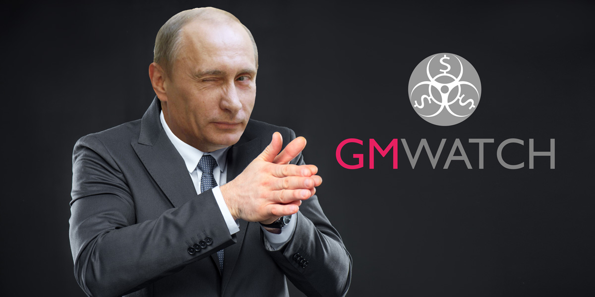 GMWatch logo and Putin, the scheming man
