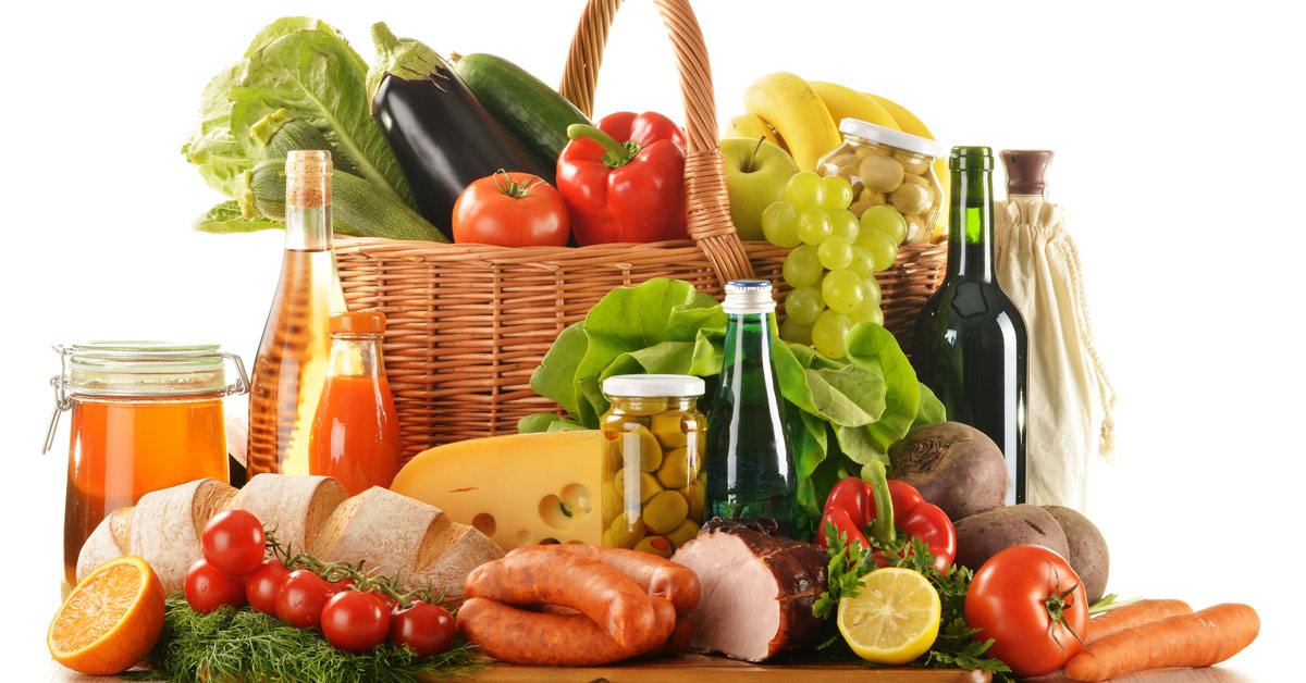Hamper of fresh food