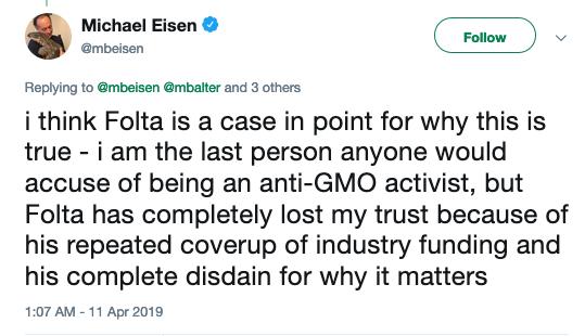 Michael Eisen tweet