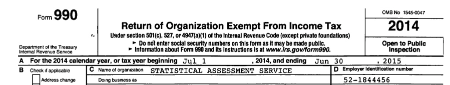 990 Income tax form for STATS Statistical Assessment
