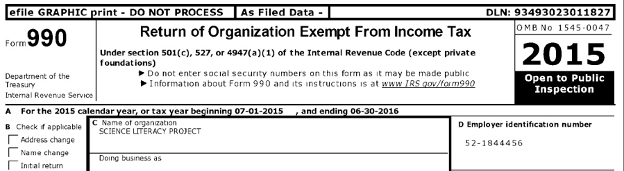 990 Income tax form for STATS Science Literacy Project 2015-2016