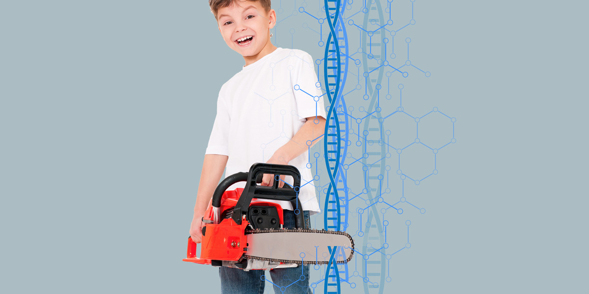 child with chainsaw and DNA